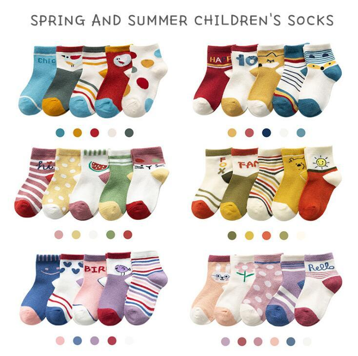 Baby Socks Newborn Infant Boys Girls Cute Unisex Cotton Crew Sock 5 Pack