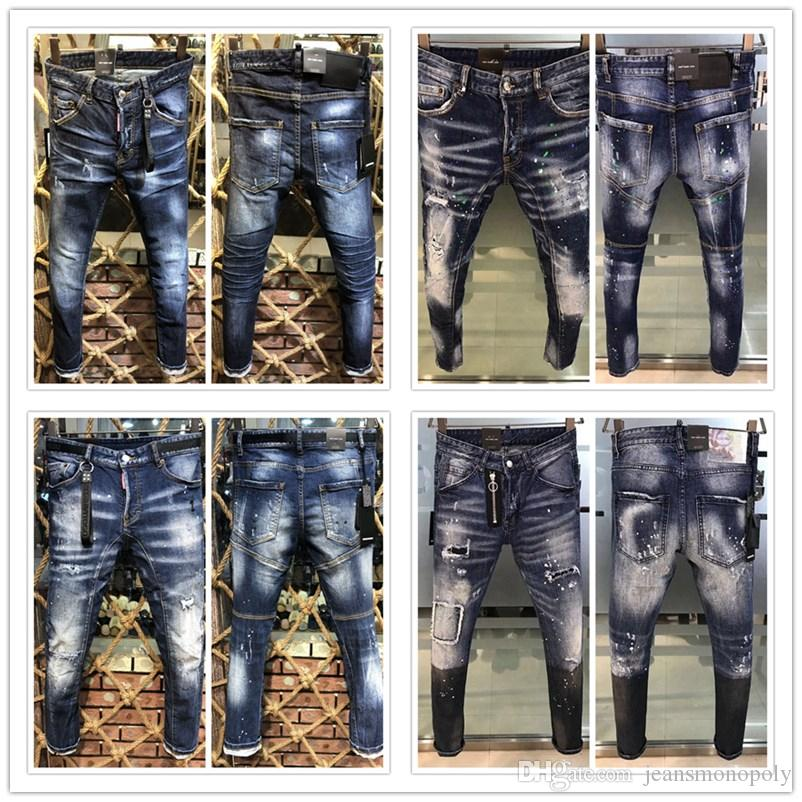 2020 New men skinny jeans Arrival Top Quality Men Designer Jeans luxury designer clothes Denim Embroidery Pants Fashion Holes Trousers
