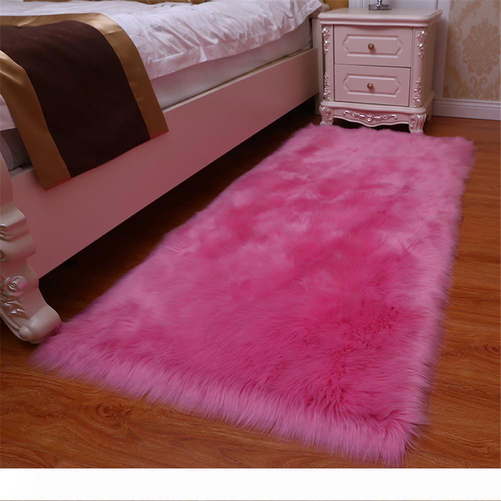 HOT laine artificielle Tapis Shaggy Fluffy Les tapis Salon Chambre LSF99