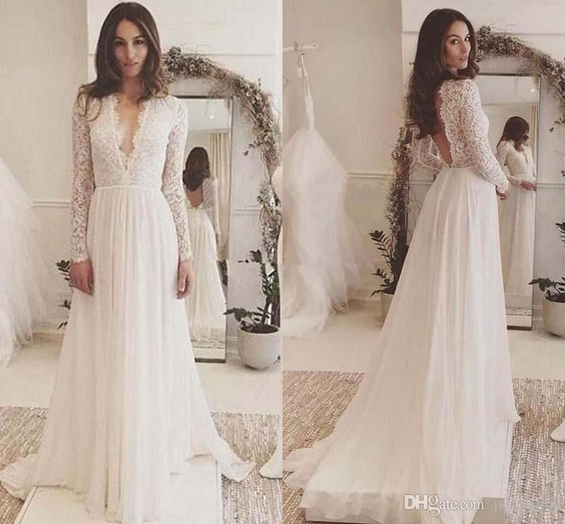 Discount Lace Chiffon Long Sleeve Plus Size Wedding Dresses 2019 Simple  Cheap V Neck Backless Sweep Train Country Flowy Beach Wedding Gown Simple A  ...