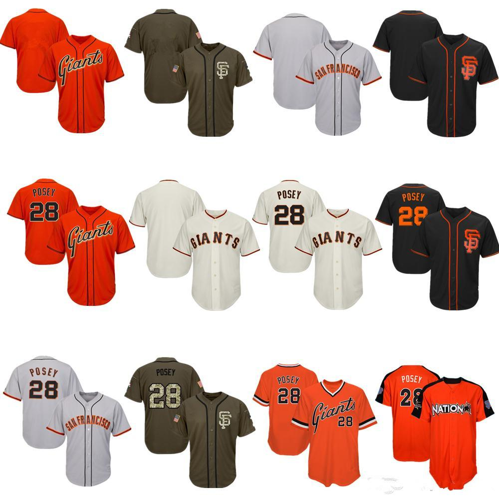 Hommes Femmes jeunes Giants Maillots 28 Posey Jersey Baseball Jersey Crème Noir Gris Gris Orange Vert Salut à Service joueurs Week-end All-Sta