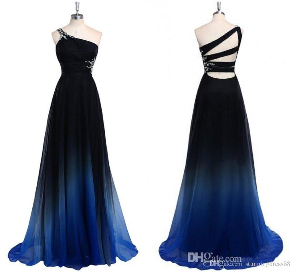 Fashion Gradiant Ombre One shoulder Prom Dresses Cheap Designer Crystal Backless Chiffon Ruched Pleated Evening Formal Gowns New