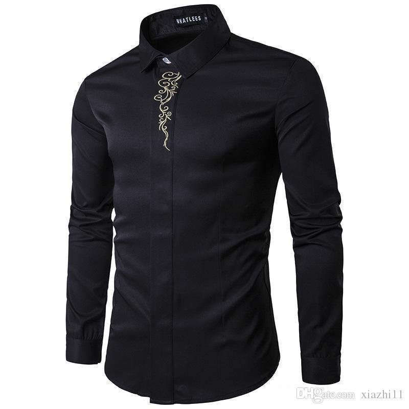 2018 Printemps Automne Chemises Outfit Broderie À Manches Longues Hommes Vêtements Robe De Soirée Chemises Noir Plus La Taille S-2XL