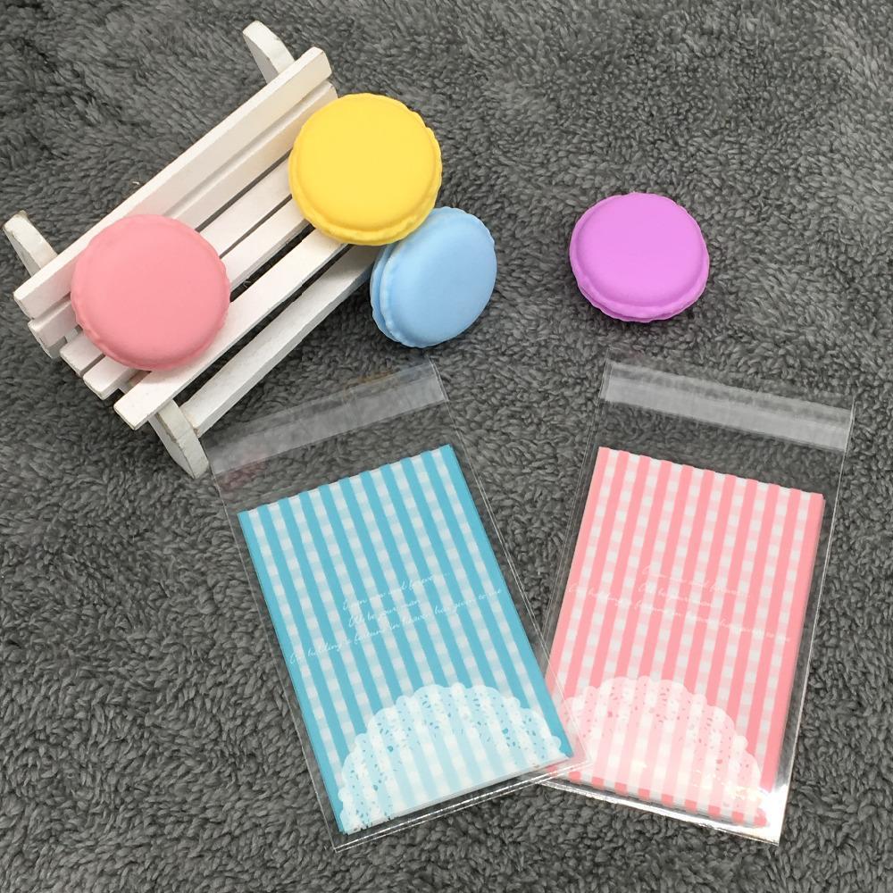 Wholesale- Cookie-Verpackung rosa blau check selbstklebende durchsichtige Plastikbeutel backen Beutel Snack-Paket 50pc / lot 7x10cm