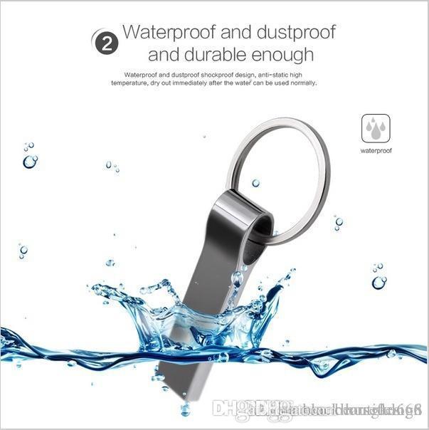 HK 100% Gerçek Kapasitesi Su geçirmez Metal Gümüş Usb Flash Disk Pen Drive 32GB ~ 128 GB