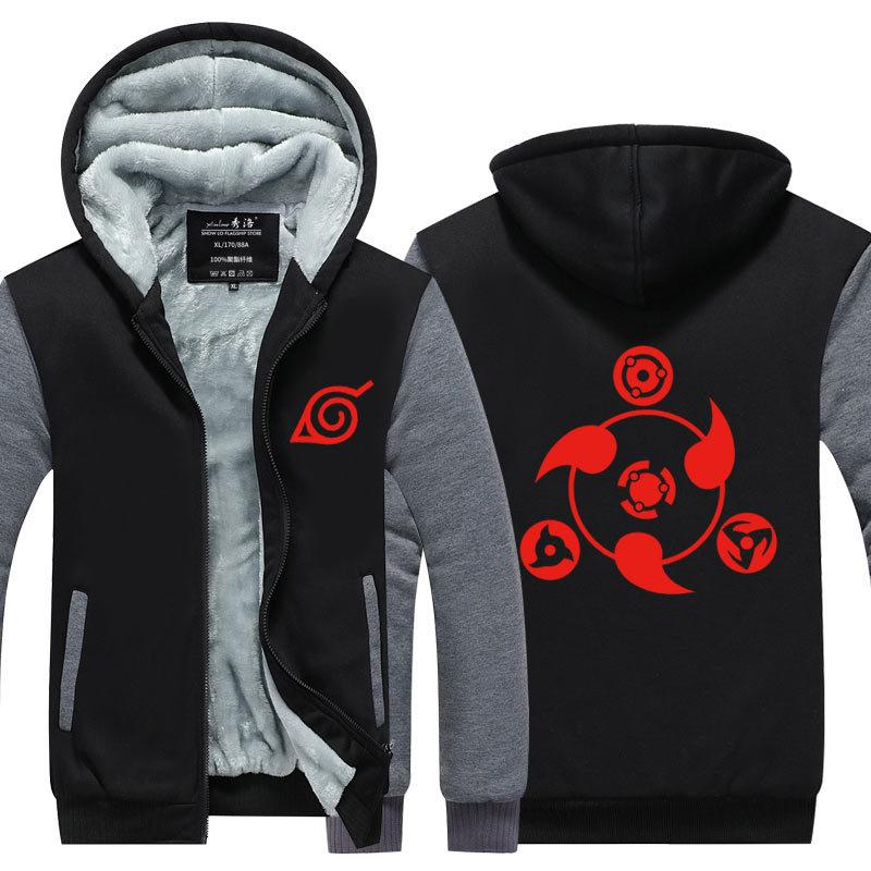 Sasuke Uchiha Zipper Thick Sportstreet Sweatshirt mit Kapuze Unisex Anzug-Mantel-Jacke Cosplay Kostüme