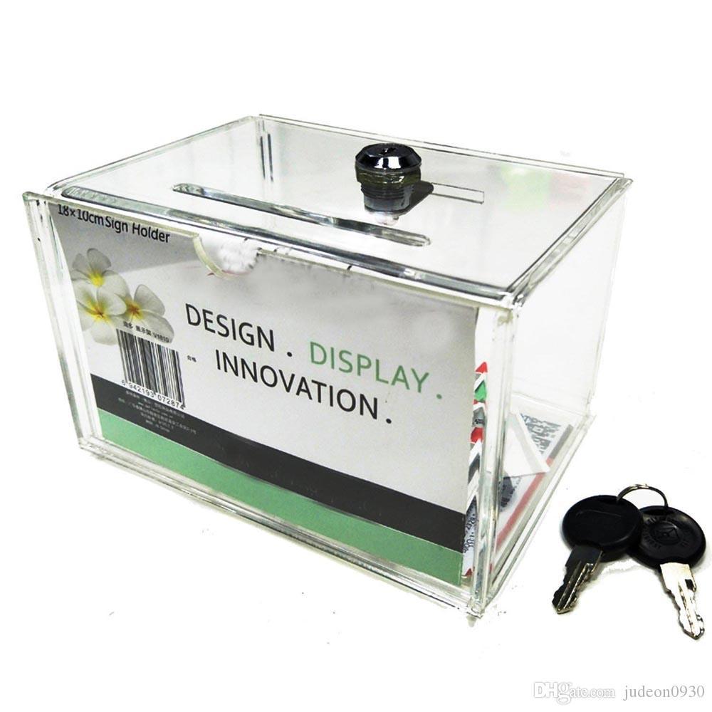 Coraz/ón Transparente Acr/ílico Sugerencia caja de donaci/ón de la Caridad,Urna para votaci/ón//sugerencias//sorteos de metacrilato