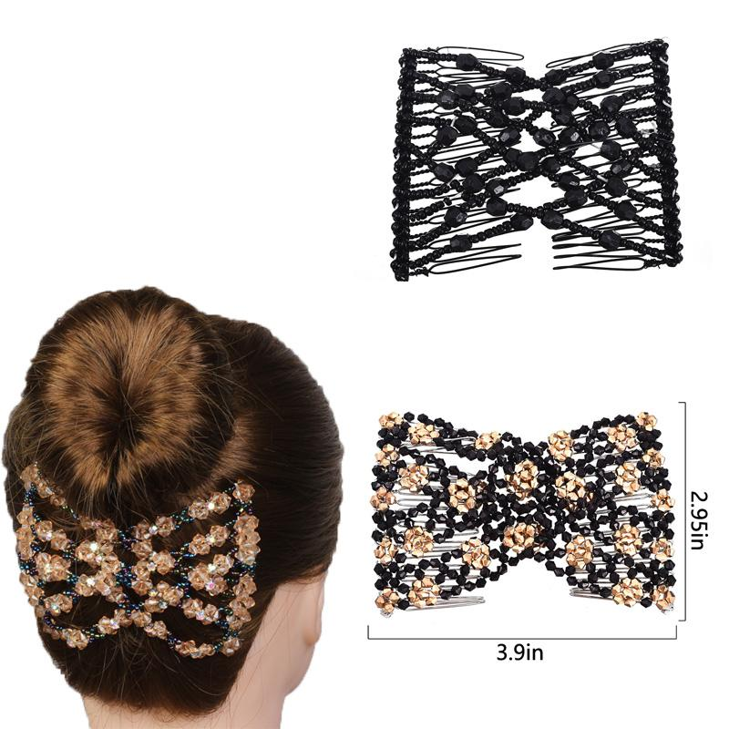 C MISM Women Vintage Elastic Flower Hair Making Tools Double Side Luxury Hair Combs DIY Clips Female Fine Accessories
