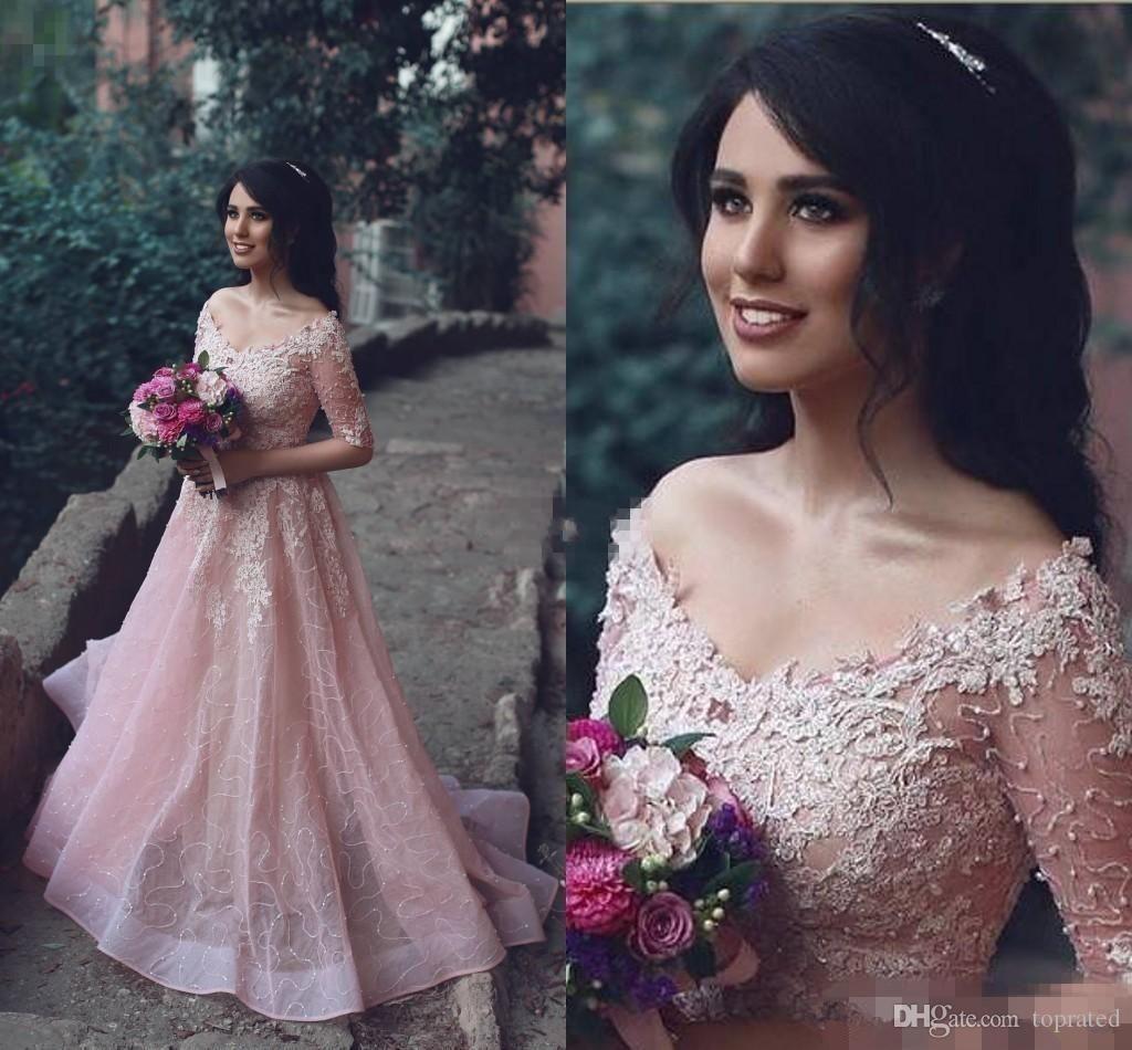 2020 fard à joues rose élégant robes de soirée en dentelle V moitié cou Appliqués manches arabe Parti Robes Longueur étage Personnalisées pas cher longue robe de bal