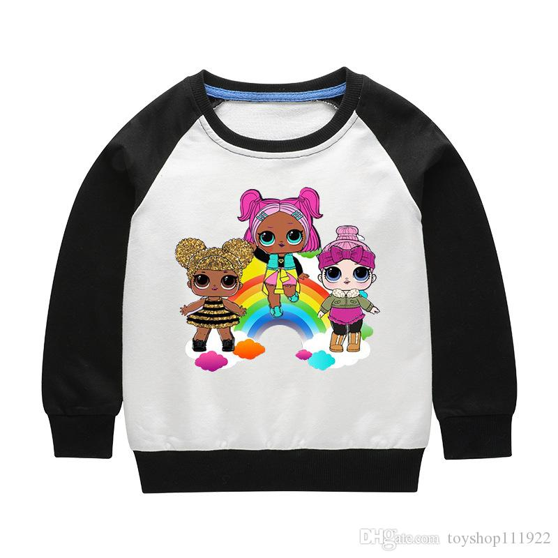 DHL FERR Karikatur-Puppe-Mädchen-Jungen Hoodies verdicken Langarm Sweatshirts Kinder Pullover Top Kleidung Hoody Verkauf