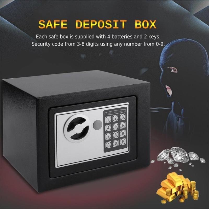 Novo eletrônico digital caixa segura teclado bloqueio segurança home escritório dinheiro jóias negra navio de EUA