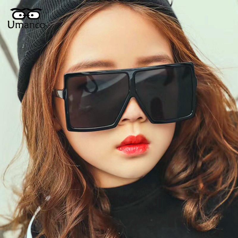Umanco 2019 New Крупногабаритные сиамские Square Детские солнцезащитные очки для детей ПК Frame Смола объектива Мода Марка Пляж Путешествия Подарки