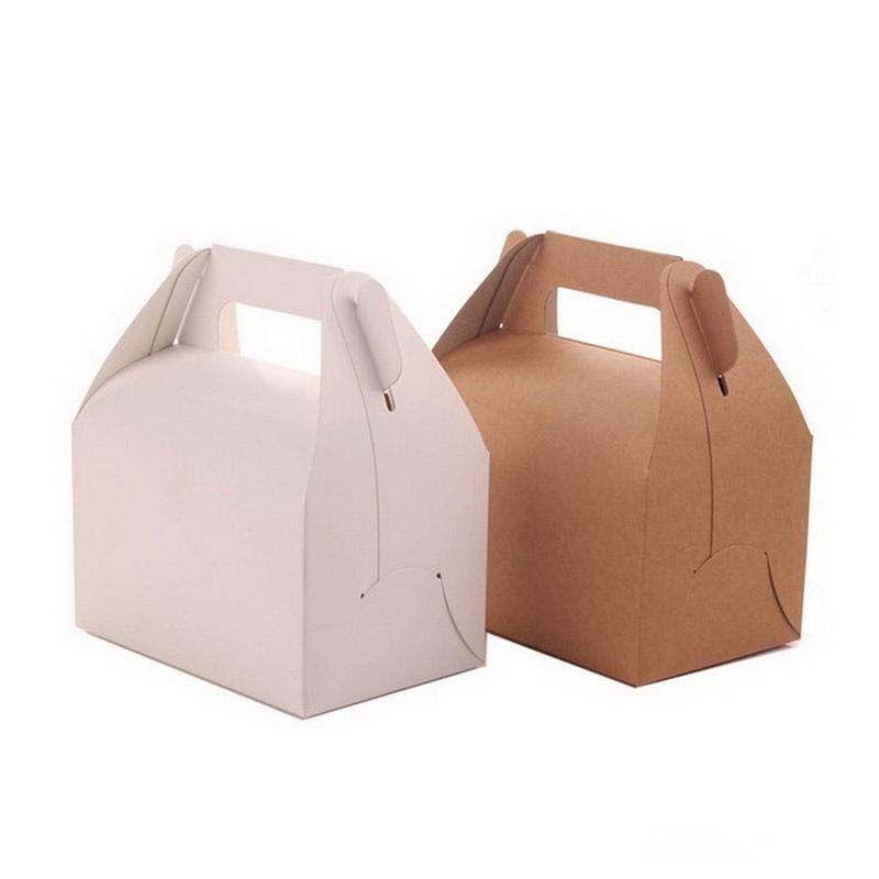 Retro Portable Cupcake Box Kraft Paper Gift Box Wedding Candy Cake Packing Box 13*8.5*8cm