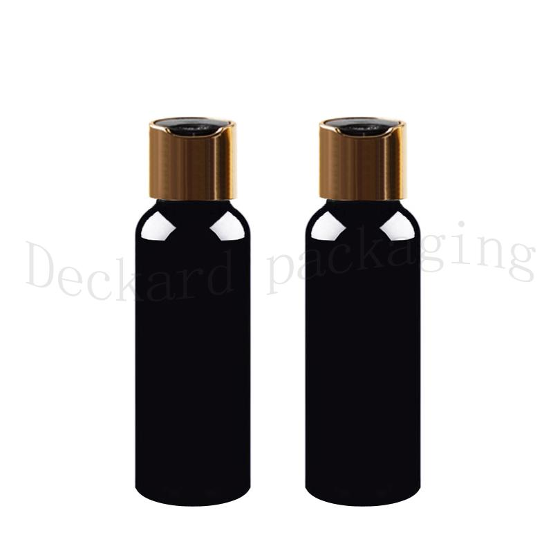 50pcs 150ml Container Sample black bottle,shampoo Storage with gold collar disc lid empty Black Packaging plastic round bottles