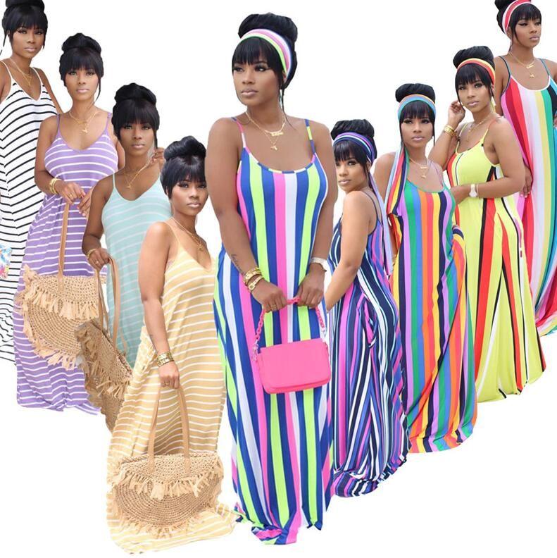 المرأة مثير الهيئة غير الرسمية اللباس أزياء السيدات الحمالات التنورة مخطط طويل فساتين فضفاضة تنورة حمالة عارضة حزب اللباس الصيفي نادي D52208CZ