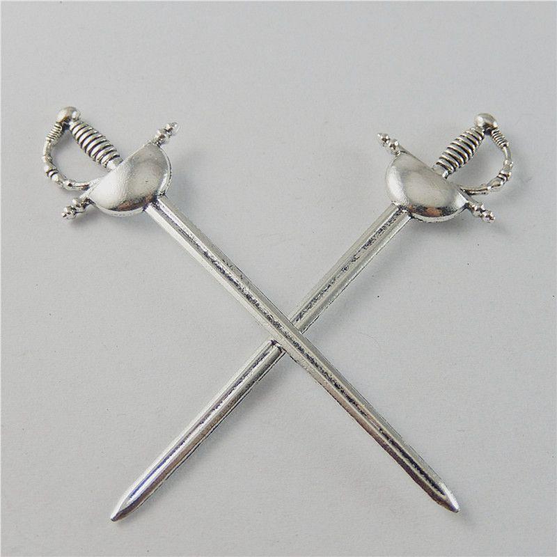 5pcs/pack Antique Silver Zinc Alloy UK Knight Sword Charms Saber Pendant for Jewelry Making Wholesale 84*22*5mm Zinc Alloy