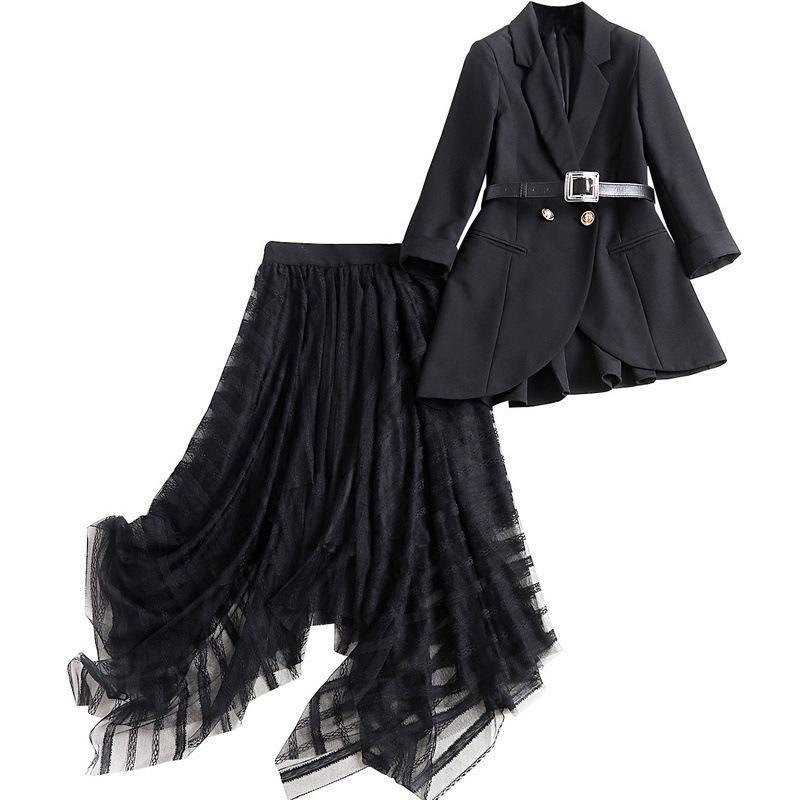 2020 Frauen Schwarzer Blazer Mesh-unregelmäßiger Rock Anzug Büro trägt Formal-Blazer-Jacken Frauen Formal 2-teiliges Set