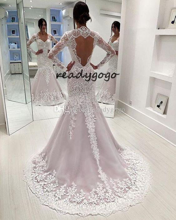 Keyhole Back Mermaid Wedding Dresses with Long Sleeve 2019 Full Lace Applique Sweetheart Sweep Train Trumpet Princess wedding gown