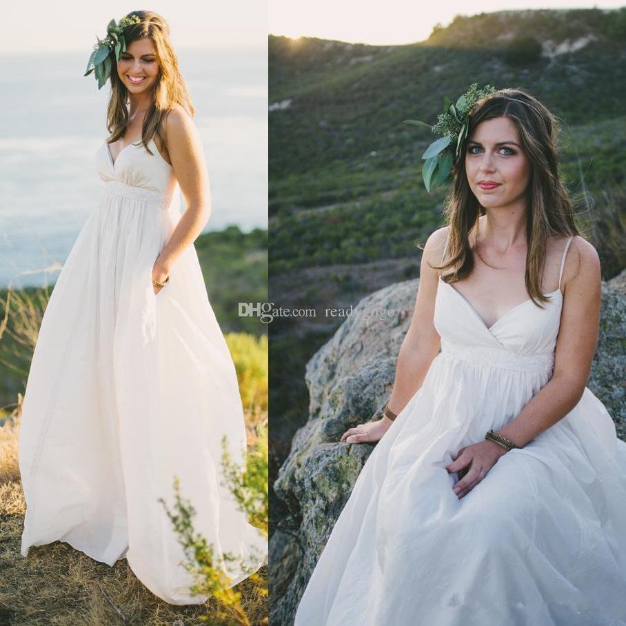 2019 Maternity Beach Wedding Dresses Sexy Plus Size Spaghetti Straps Beaded Pearls Ivory Taffeta Country Style Empire Bridal Gowns