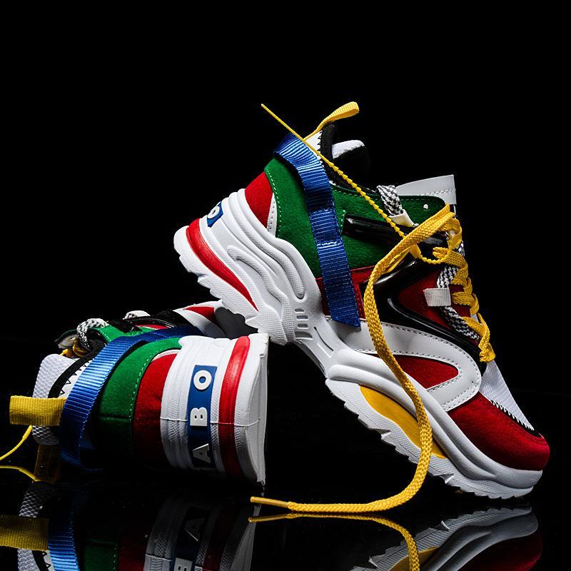 INS Moda kadınlar Platformu Aksak Sneakers ışık Ayakkabı örgü Kadın Casual Baba Ayakkabı çapraz bağlanmış beyaz spor ayakkabıları tenis feminino