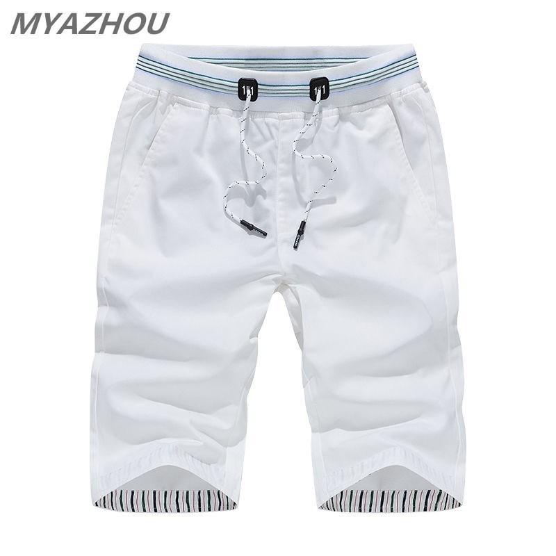 Myazhou 5xl мужские летние повседневные шорты 2019 сплошной цвет эластичный пояс модные мужские шорты 100% хлопок бренд мужской шорты одежда C19032801