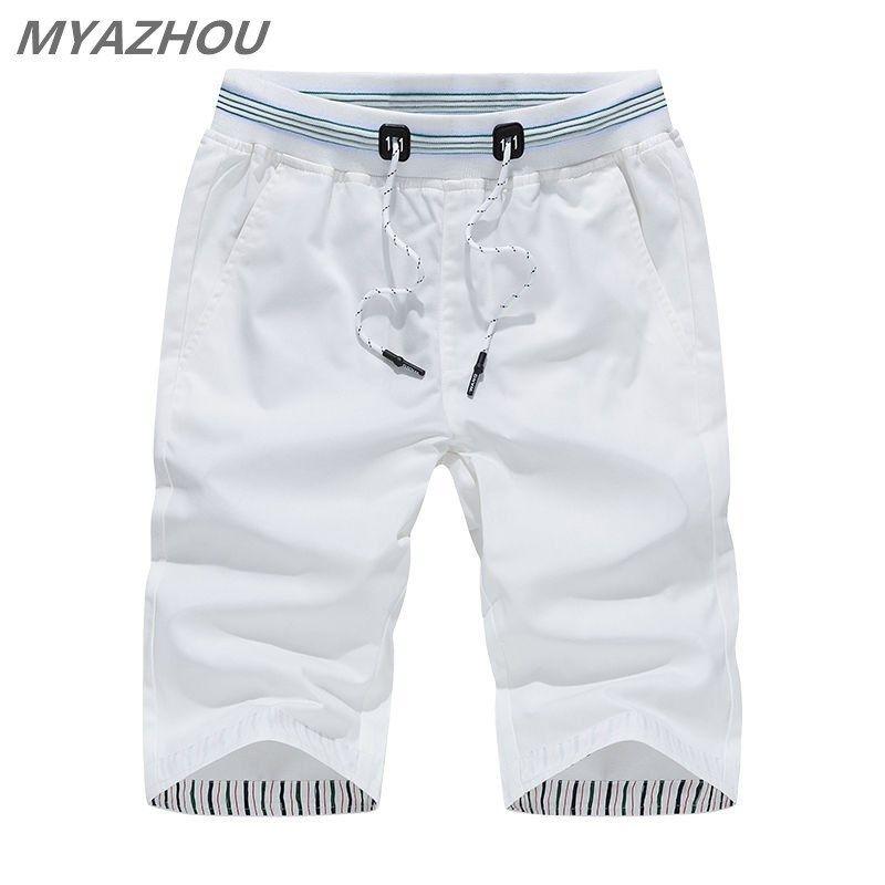 Myazhou 5xl Shorts casual da uomo estate 2019 tinta unita Elastico in vita Pantaloncini da uomo moda 100% cotone Brand Men Abbigliamento Shorts C19032801