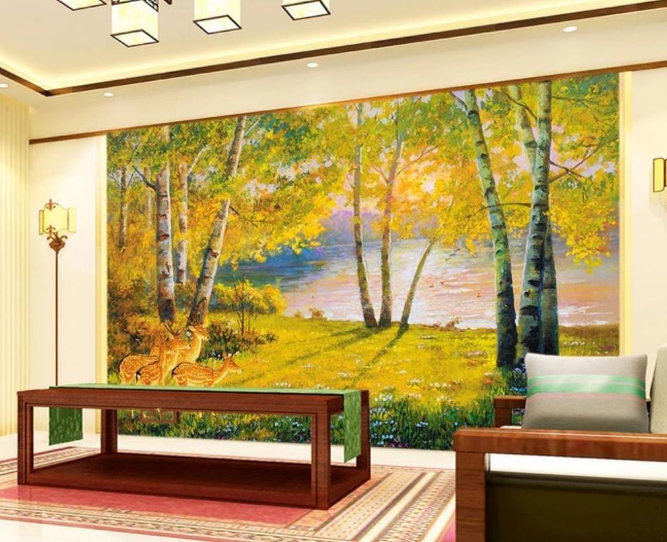 Papel pintado 3d estilo europeo pintura al óleo bosque fondos de pantalla lago tranquilo wallapers hermoso fondo de la pared