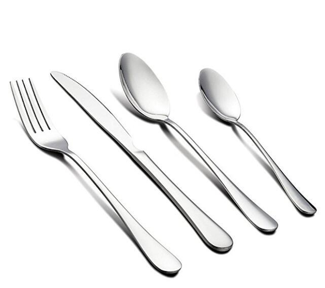 4 Piece Stainless Steel Flatware Tableware Set Mirror Polished Knife Tablespoon Teaspoon Fork Set Dishwasher Safe