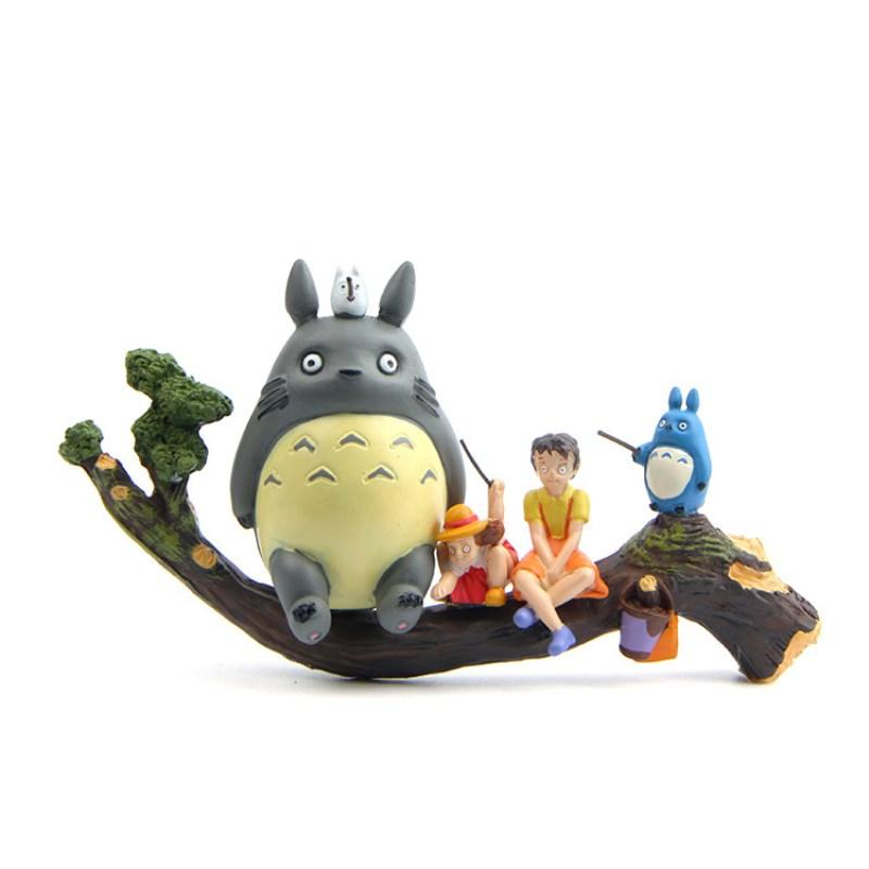 5PCS/set Cute Animated Totoro Tree Truck Action Figure Collection Of Dolls And Children's Toys For Christmas Presents