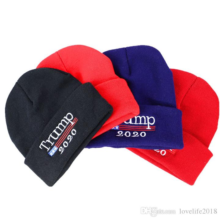 Donald Trump 2020 Hat 4 Colors Skullies Beanies Re-Election Keep America Great Embroidery USA Flag Winter Cap T211