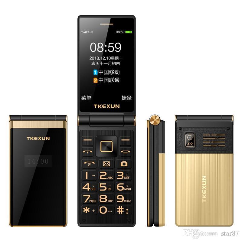 Luxus Dual Screen Mode Flip-Handy Metallgehäuse Profi Dual-SIM-Karte Kamera MP3 3.0 Zoll-Screen-Quad-Band-celular Handy