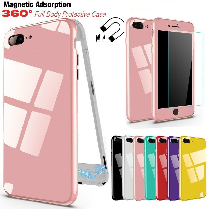 Magnetic Adsorption 360 Degree Tempered Glass Magnetic Phone Case for iPhone X 10 7 8 6 6s Plus 8 Plus 7 Plus Magnetic Adsorption Cover