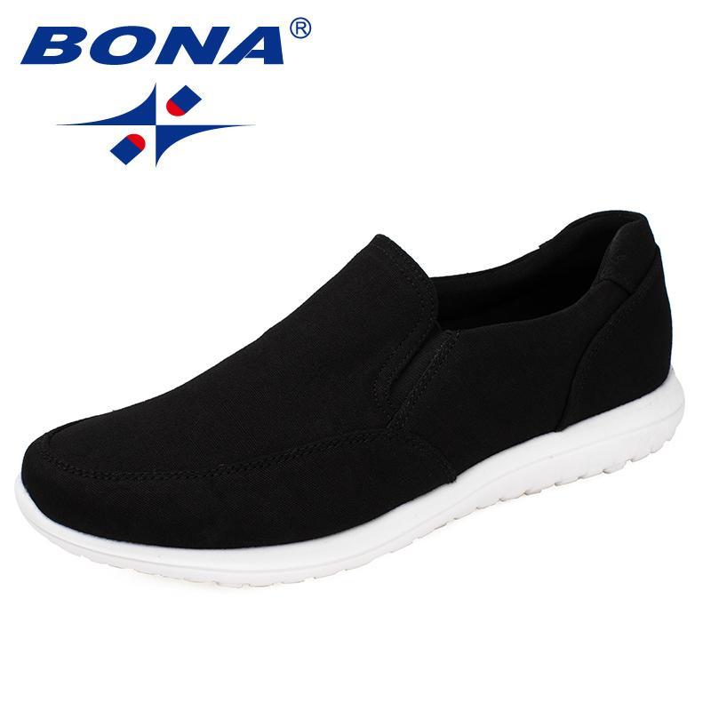 Bona Elastik Band Ile Yeni Tipik Stil Erkekler Tuval Ayakkabı Erkekler ayakkabı Eva Taban Rahat Ayakkabılar Işık Hızlı Ücretsiz Kargo MX190713