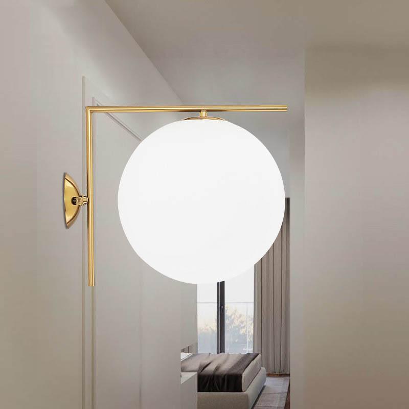 SGROW Nordic Metal Aplik Işık Kapalı Işık ile yatak odası Yemek Odası Işıklandırma Cam Topu Abajur Duvar Lambası için