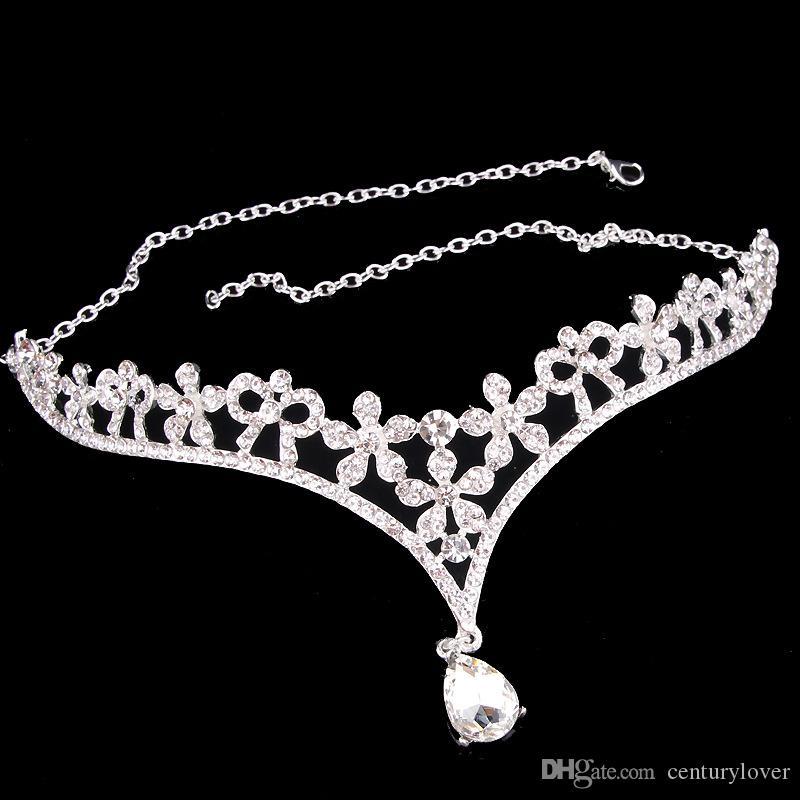 New Hot Silver Red Korean Style Women Rhinestone Crystal V Shape Water Drop Crown Tiara Hairwear Wedding Bridal Jewelry Accessory Headpieces