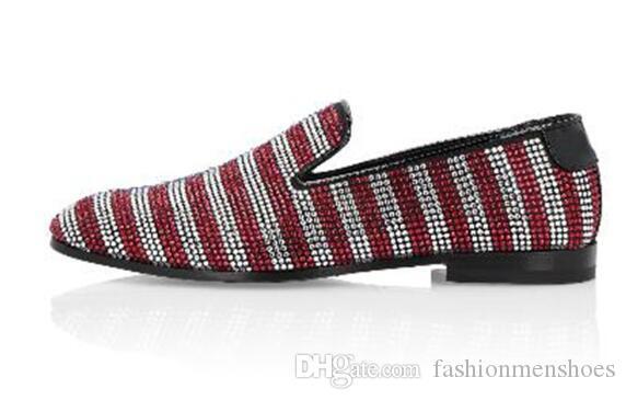 Zapatillas Hombre Couleur Mixte Diamant Cloutés Mocassins Hommes Slip On Dress Chaussures Piste Partie Chaussures De Mariage Taille 38-46
