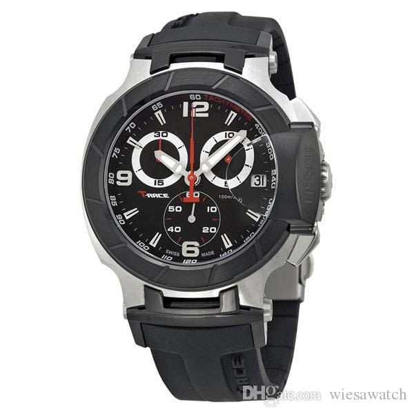 Discount Price Racing Chronograph Quartz Sport Black Rubber Strap Deployment Clasp Classic Bracelet Men Watch Wristwatches Watches