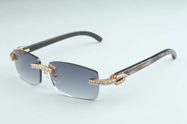 20 лет New Natural Fringe Полосатый Рогатые Зеркало объектива Солнцезащитные очки, 3524012 (2) Роскошные Желтые Алмазные Солнцезащитные очки Размер: 56-18-140mm Солнцезащитные очки