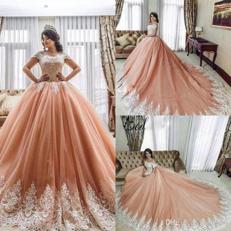 Elegant Arabic Peach Orange Prom Dresses Ball Gown Lace Up Cap Sleeves Puffy Tulle Quinceanera Evening Dresses Long Train Engagement 2018 Australia