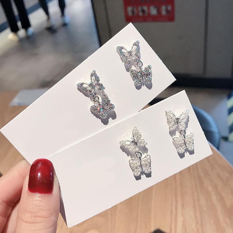 Perlas de cristal pendientes de la mariposa simple aguja de plata lindo del aro pendientes de las mujeres niñas vendimia diseño de moda del deslumbramiento penetrantes