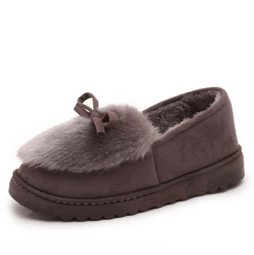 Xiaying Kadınlar Yeni Stil Moda Bow Ayakkabı Lastik Alt Y200320 için Tüy Aşağı Antiskid ile Kış Flats sıcak bir gülümsemeyle
