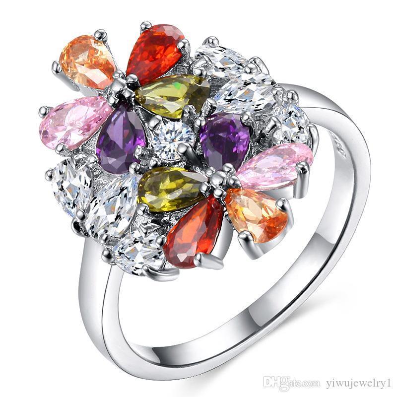 Nuovo anello della pietra preziosa colorata delle donne di modo Argento 925 anello di diamanti signore Anello Fiore festa di nozze gioielli formato del regalo 6-10