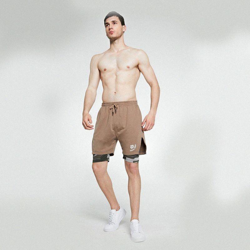 Mens 2 em 1 Sports Shorts Verão New Mens Calções de corrida Sweatpants Masculino respirável Homens Jogging Gym pLjt #