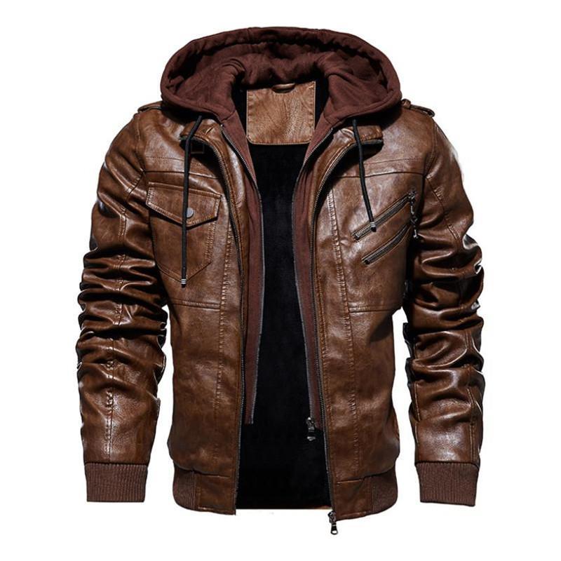 Sonbahar ve kış yeni erkek deri ceket sıcak rahat ceket motosiklet ceket kukuletalı düz renk Cap çıkarılabilir rüzgar geçirmez ceket T191027