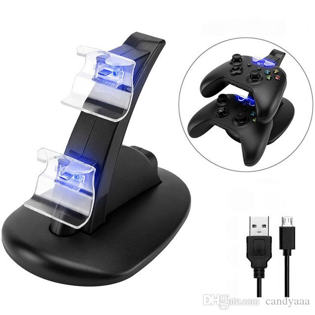LED USB Dual Game Controllers Charger Charging Dock Stand Station For Sony PlayStation 4 Wireless PS4 XBOX ONE Gamepad Game Controllers