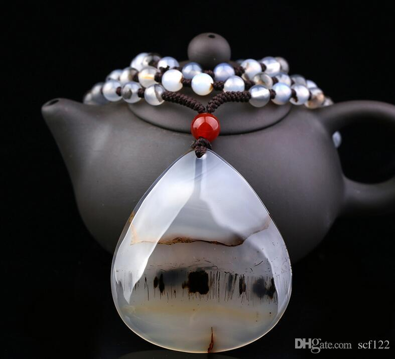 goutte d'eau collier de chaîne Pure pendentif calcédoine naturel marin coeur hommes agate aquatique fleur et les femmes de décoration en cristal