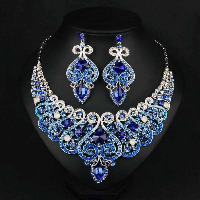 stile Dubai lusso sposa gioielli da sposa set con strass di cristallo orecchini di dichiarazione e girocollo collana set regalo per le donne