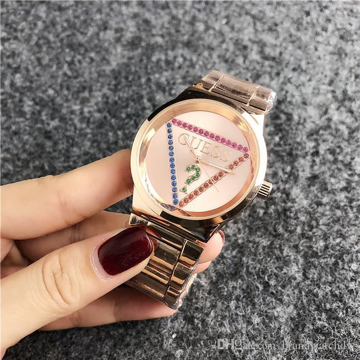 2020 Fashion Brand women's men Girl crystal dial ladyGuess&#13 Stainless steel metal band quartz wrist watch women Bracelet Watch