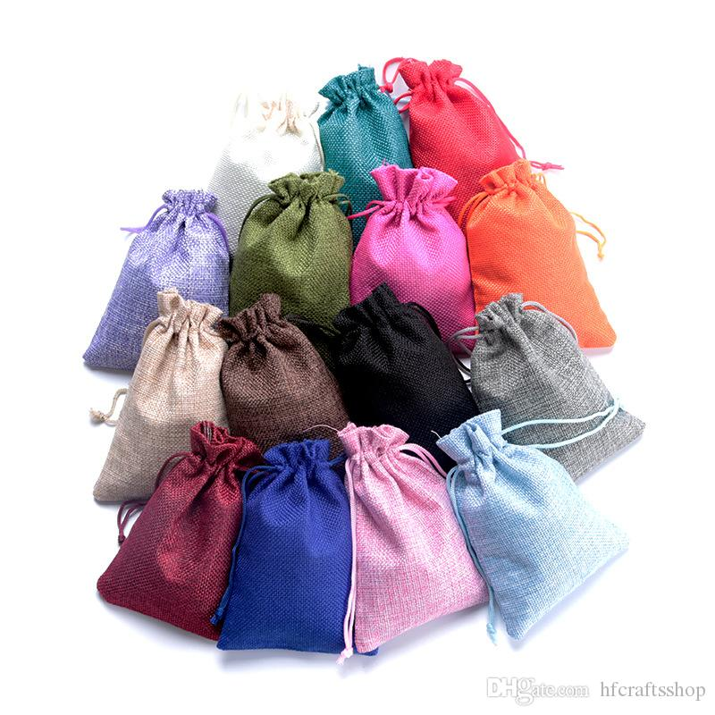 9x12cm Hessian Jute Gifts Bags Bracelet Earring Necklace Storage Bag Double Drawstring Colorful Jewelry Packing Bags Linen Gift Pouches
