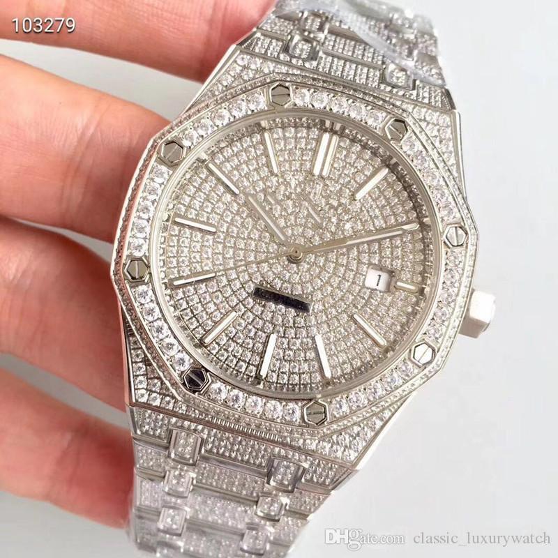 reloj de lujo JF produce el Abbey royal oak 15400. cal.3120 reloj automático ultrafino 41 mm relojes de lujo para hombre reloj de diamantes
